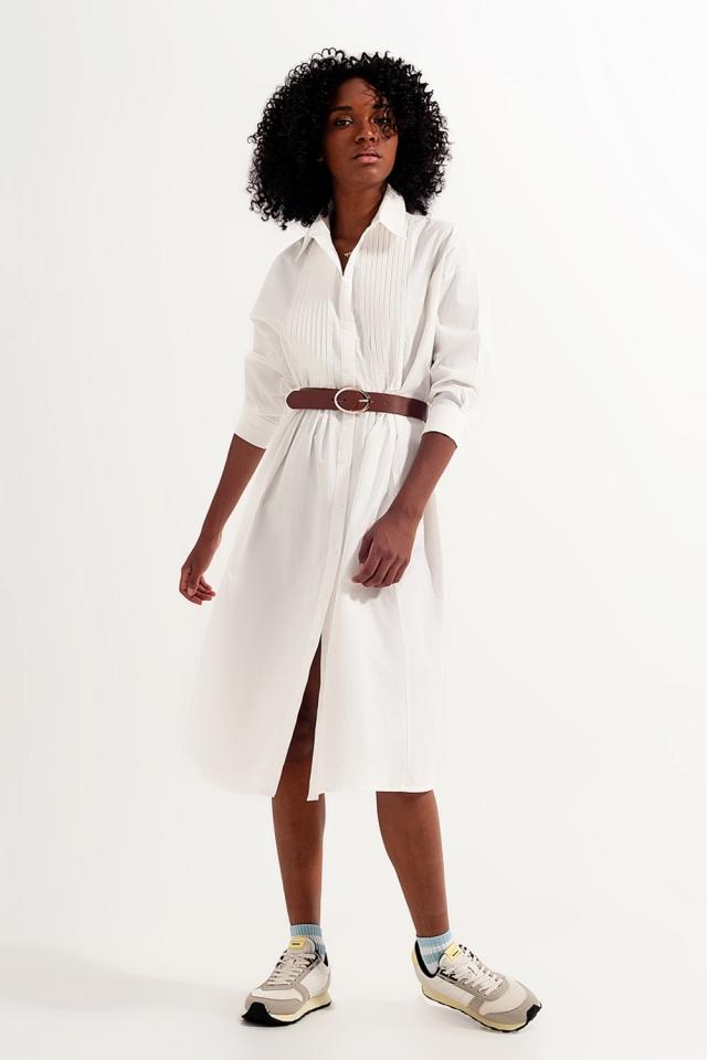 Vestido de camisa midi de algodão branco