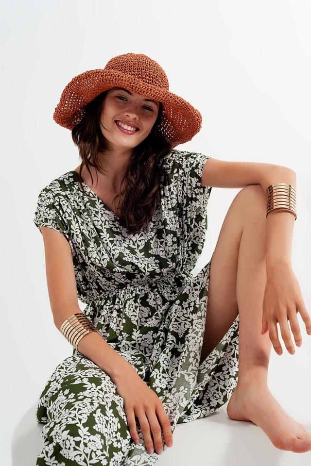 Maxi vestido com estampa floral verde