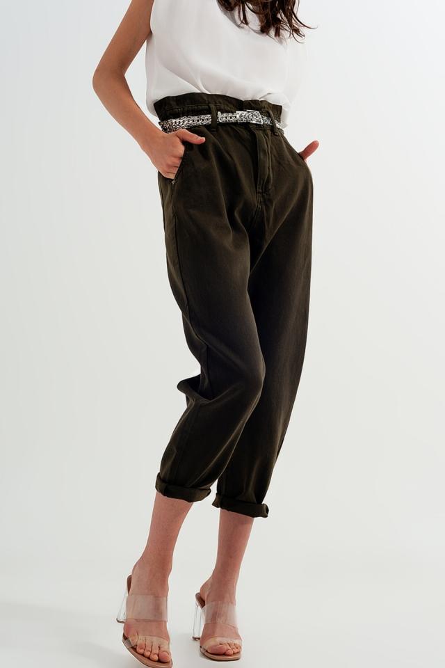 Calças de ganga cáqui de cintura alta paperbag