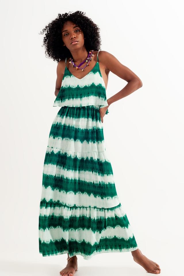 Vestido de praia com efeito tie-dye Verde