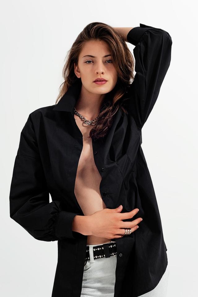 Camisa de manga comprida preta em popeline