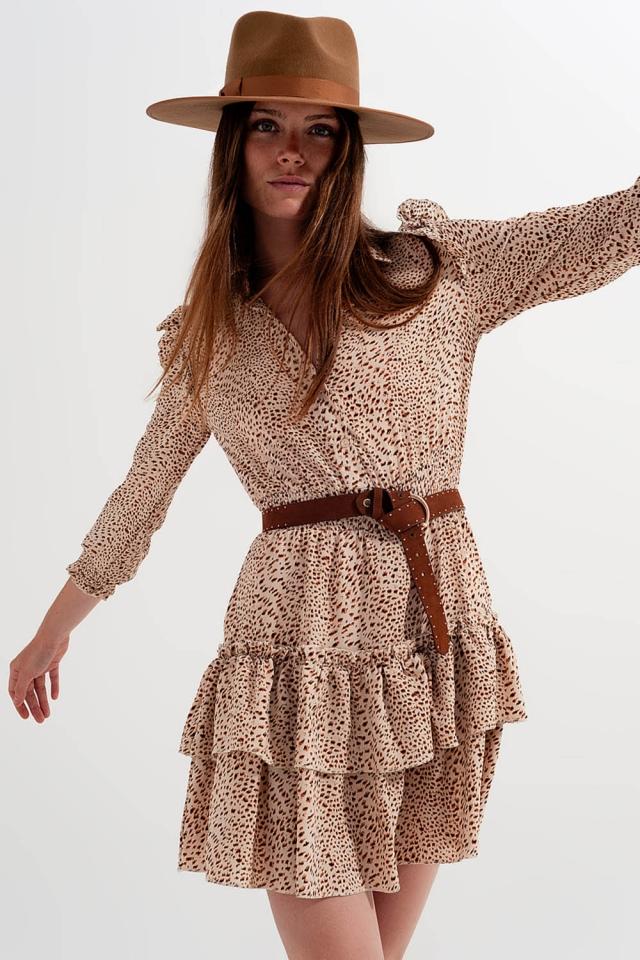 Mini-vestido de camisa com rufos com estampado de leopardo