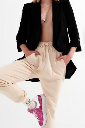 Joggers com faixa elástica na cintura em bege