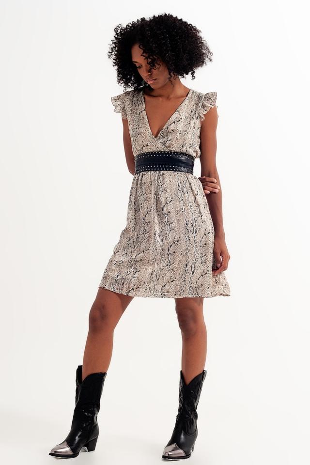Mini vestido de pele de cobra com cinto