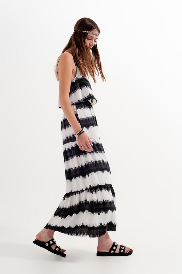 Vestido de praia com efeito tie-dye preta