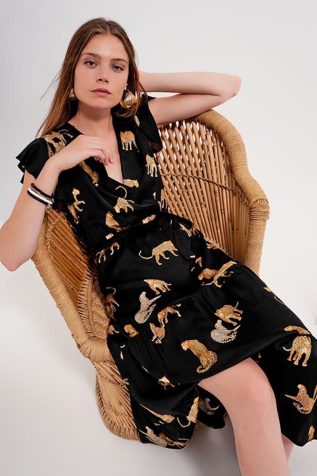 Vestido midi com estampa de tigre