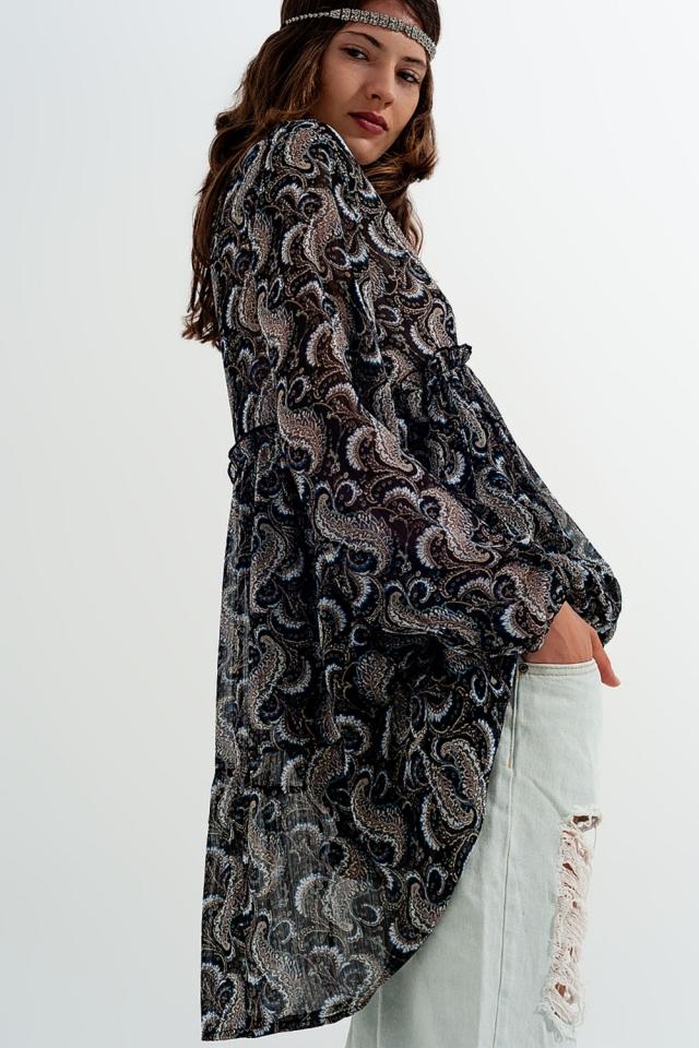 Vestido estampado de chiffon fluido