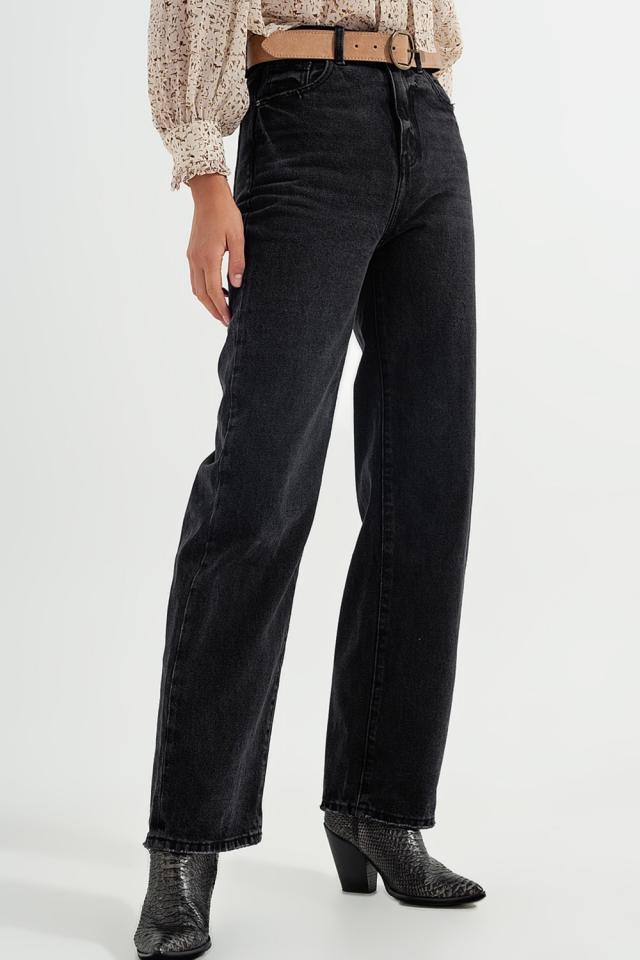 Calças de ganga pretas de cintura super alta e rectas