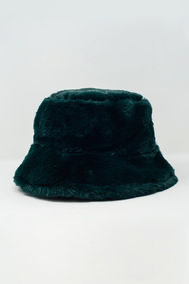 Chapéu de pescador de pelúcia dupla face verde