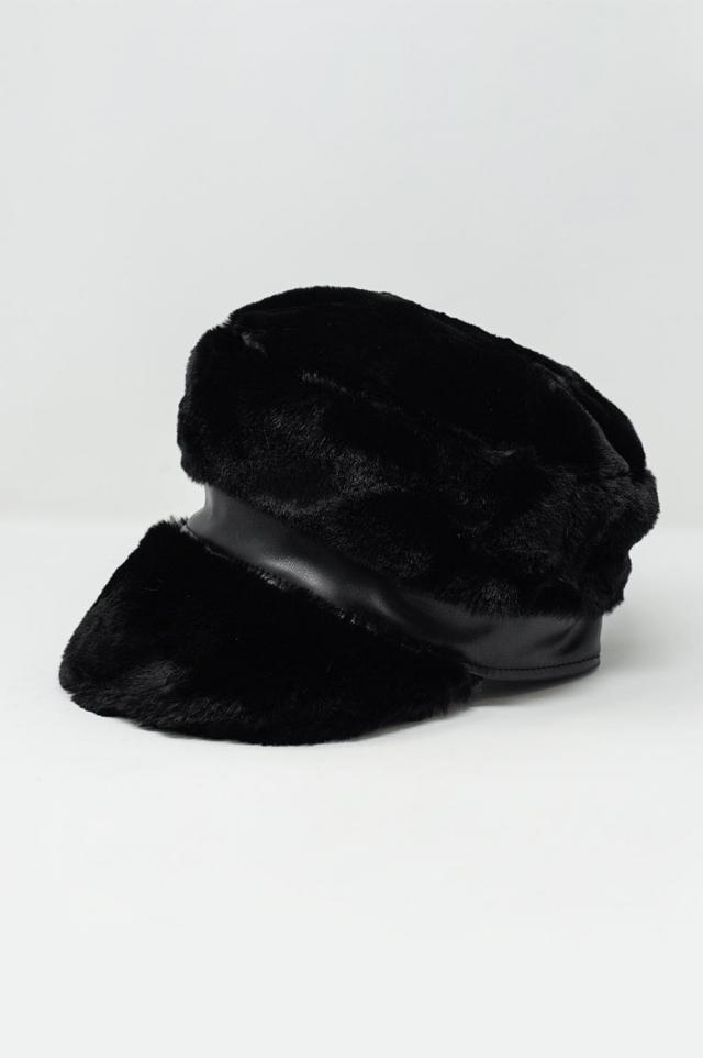 Gorra cor preto de padeiro de lã de borg