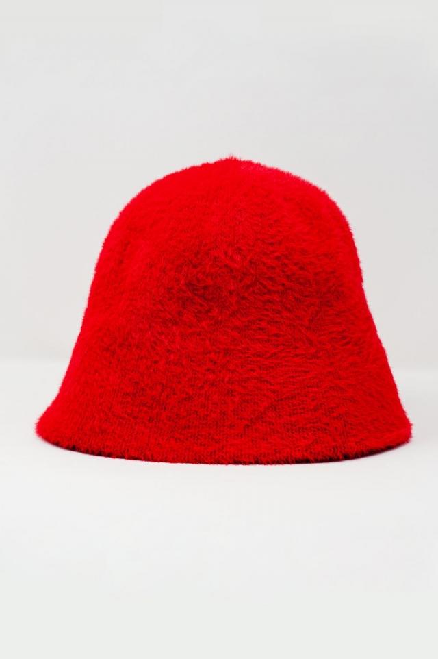 Chapéu de pescador em malha vermelha