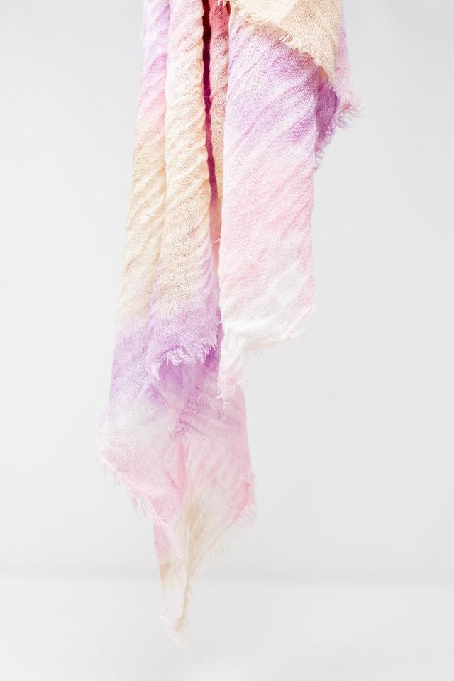 Lenço rosa com efeito descolorido