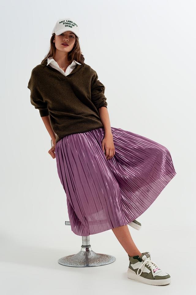 Saia midi plissada em púrpura