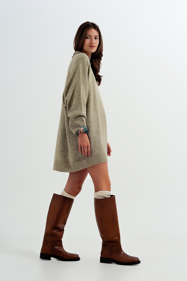Camisola cáqui estilo vestido de malha