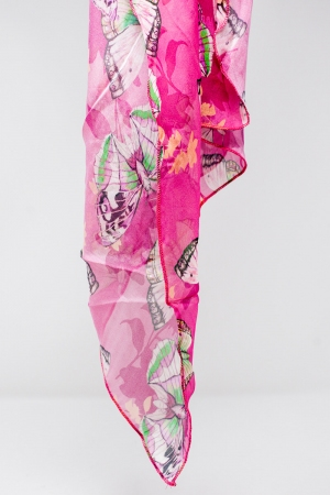 Lenço seda cor-de-Fucsia com impressão de borboletas
