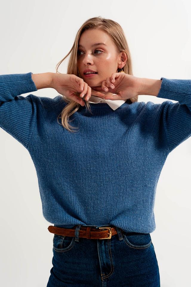 Pullover com pescoço redondo em cor azul