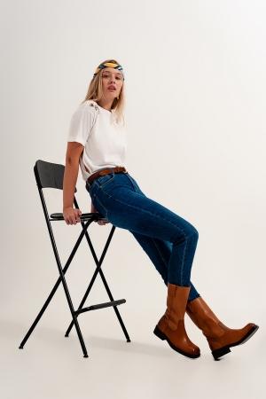 jeans super skinny de cintura alta em azul escuro com elástico de alta qualidade