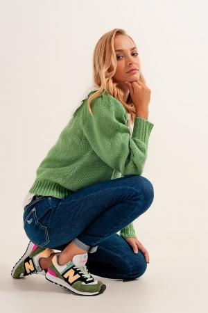 Calças de ganga Skinny mom com elasticidade em azul médio