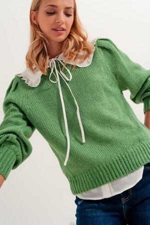 Camisola com mangas plissadas verdes
