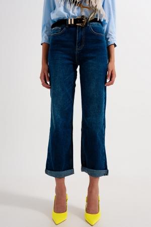Calças de ganga estilo 90's de corte flare azul médio lavadas
