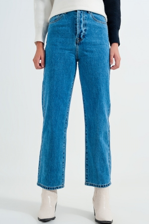 Calças de ganga Mom azuis de cintura alta